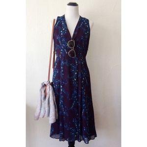 CABI purple treasure paisley sleeveless midi dress